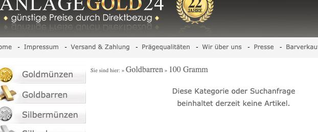 100 Gramm Goldbarren ausverkauft